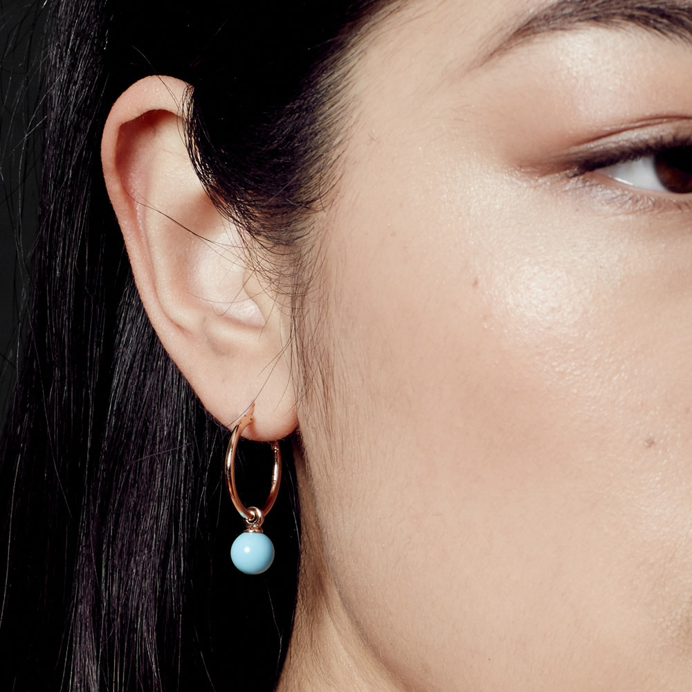 Vera Turquoise Drop Hoop Earrings