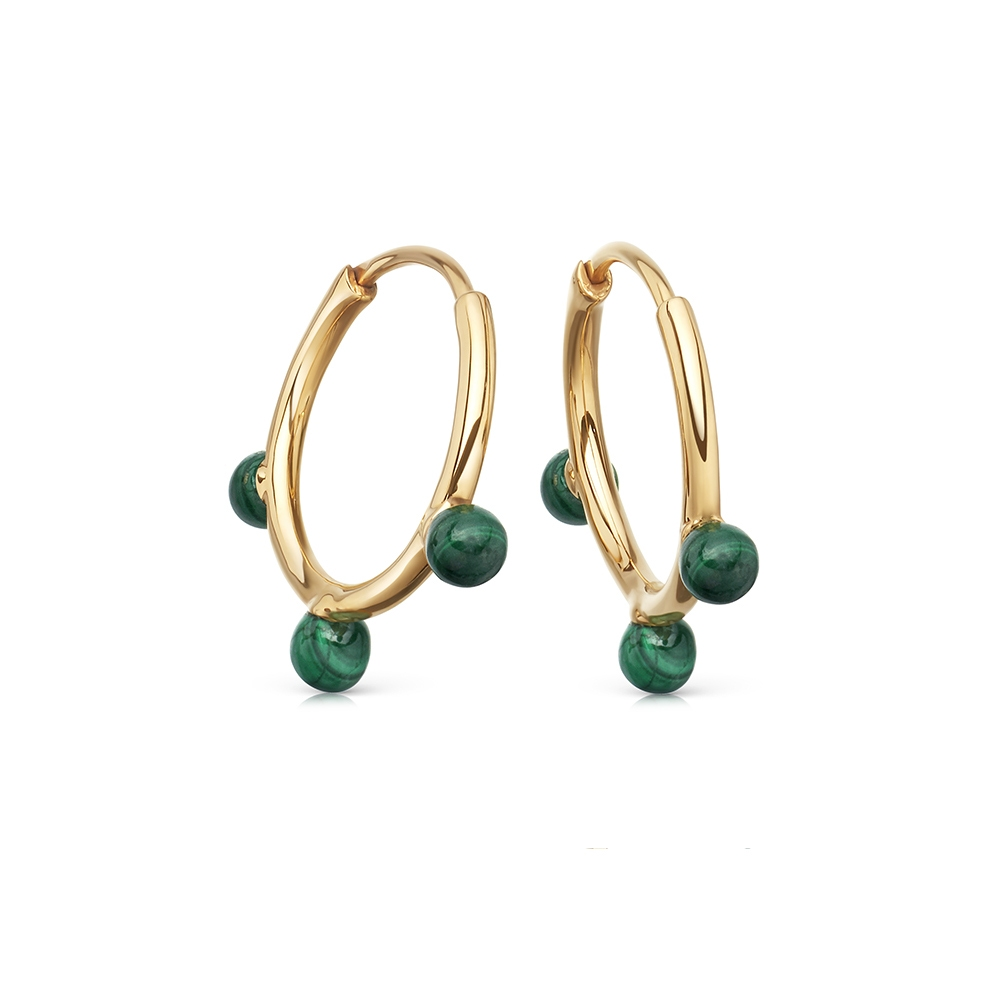 Hazel Malachite Hoop Earrings