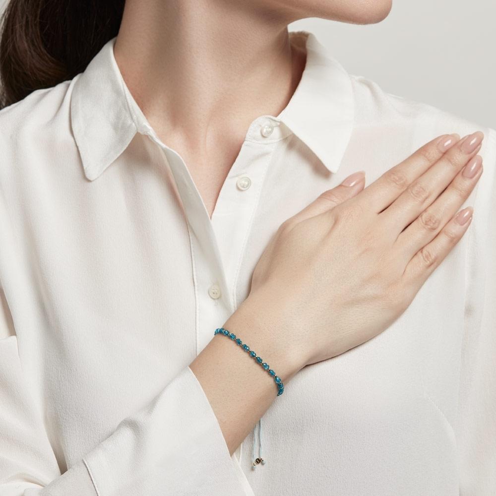 Apatite Beaded Skinny Kula Bracelet