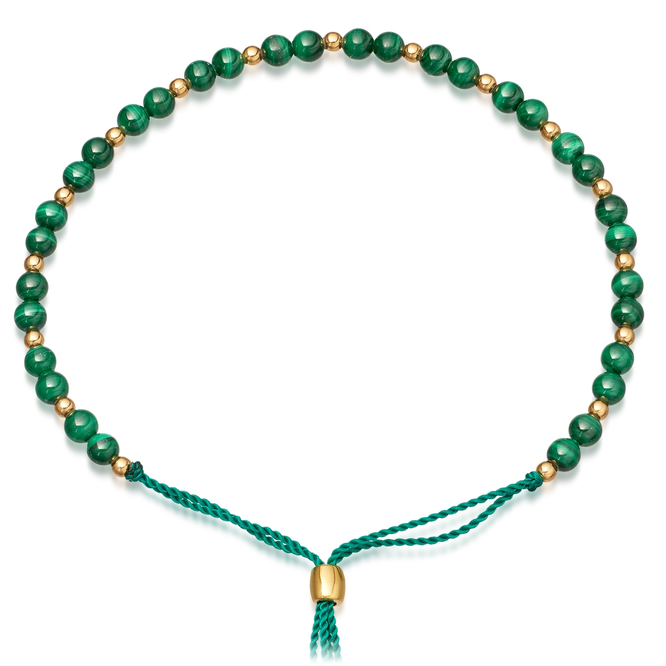Malachite Beaded Skinny Kula Bracelet