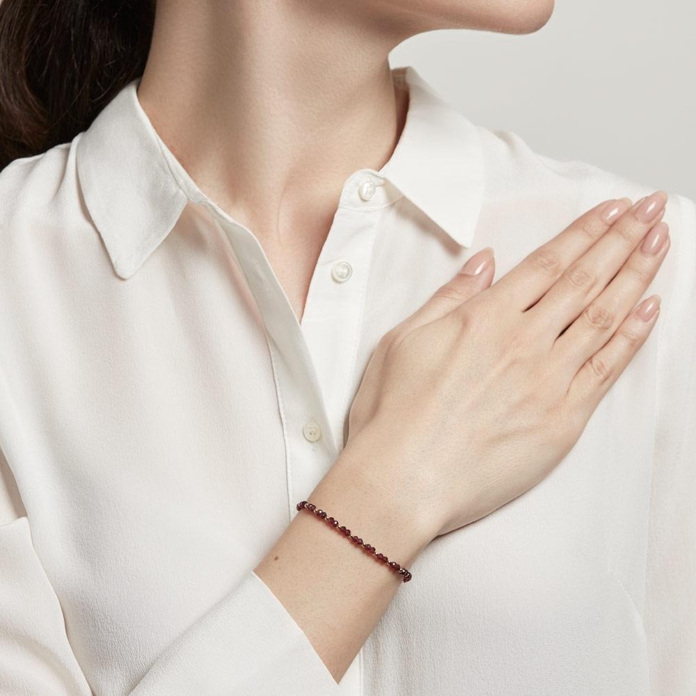 Rhodolite Beaded Skinny Kula Bracelet