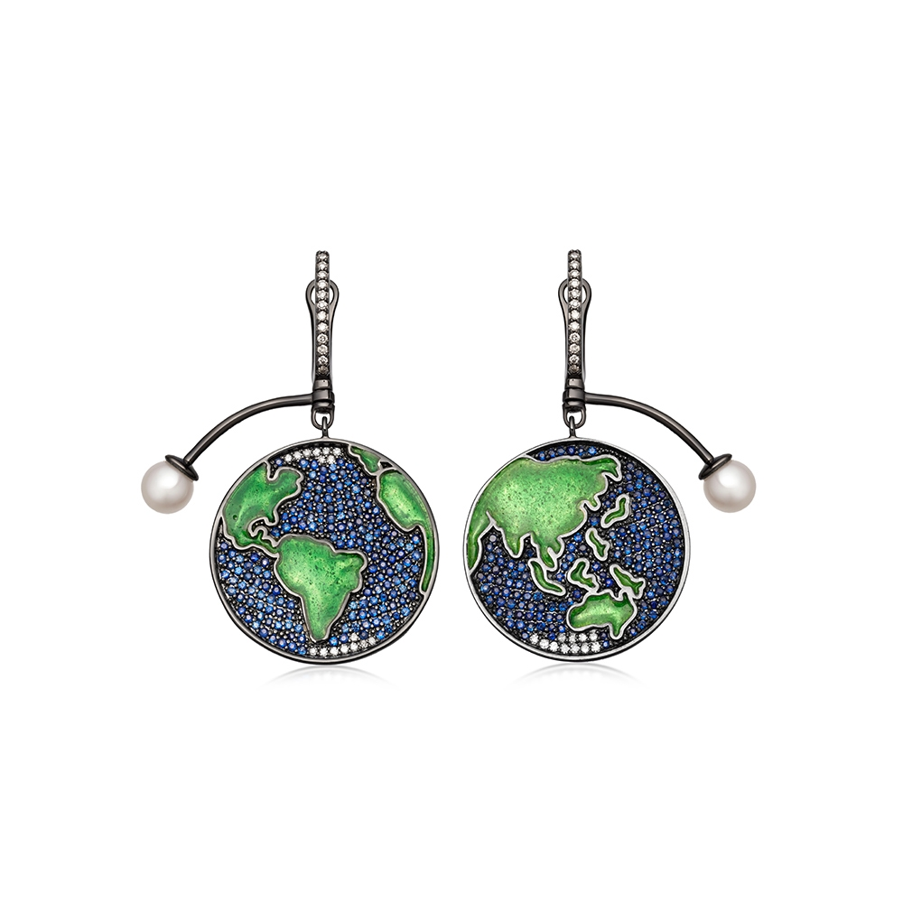 Sapphire Earth Drop Earrings