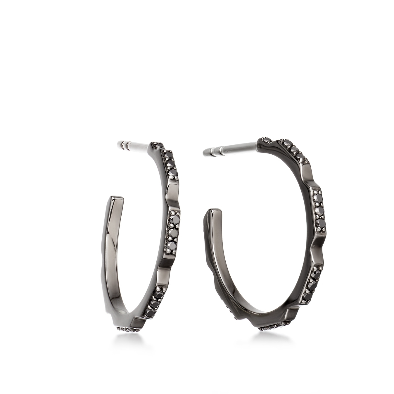 Aubar Black Diamond Hoop Earrings