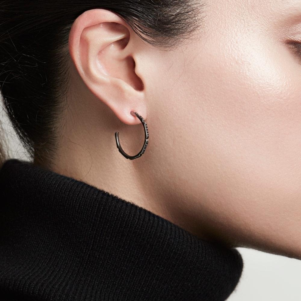Aubar Black Diamond Large Hoop Earrings