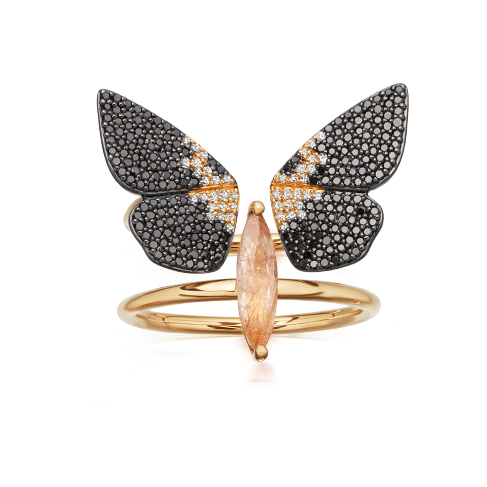 Magpie Moth Diamond Ring