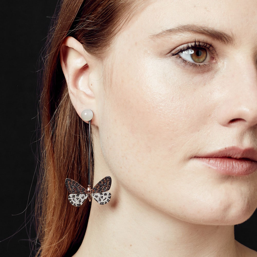 Speckled Magpie Moth Diamond Bar Drop Earrings