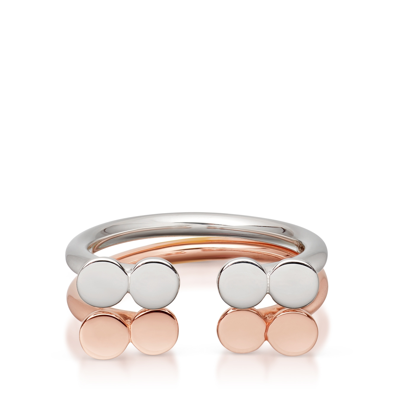Double Open Disc Ring Stack