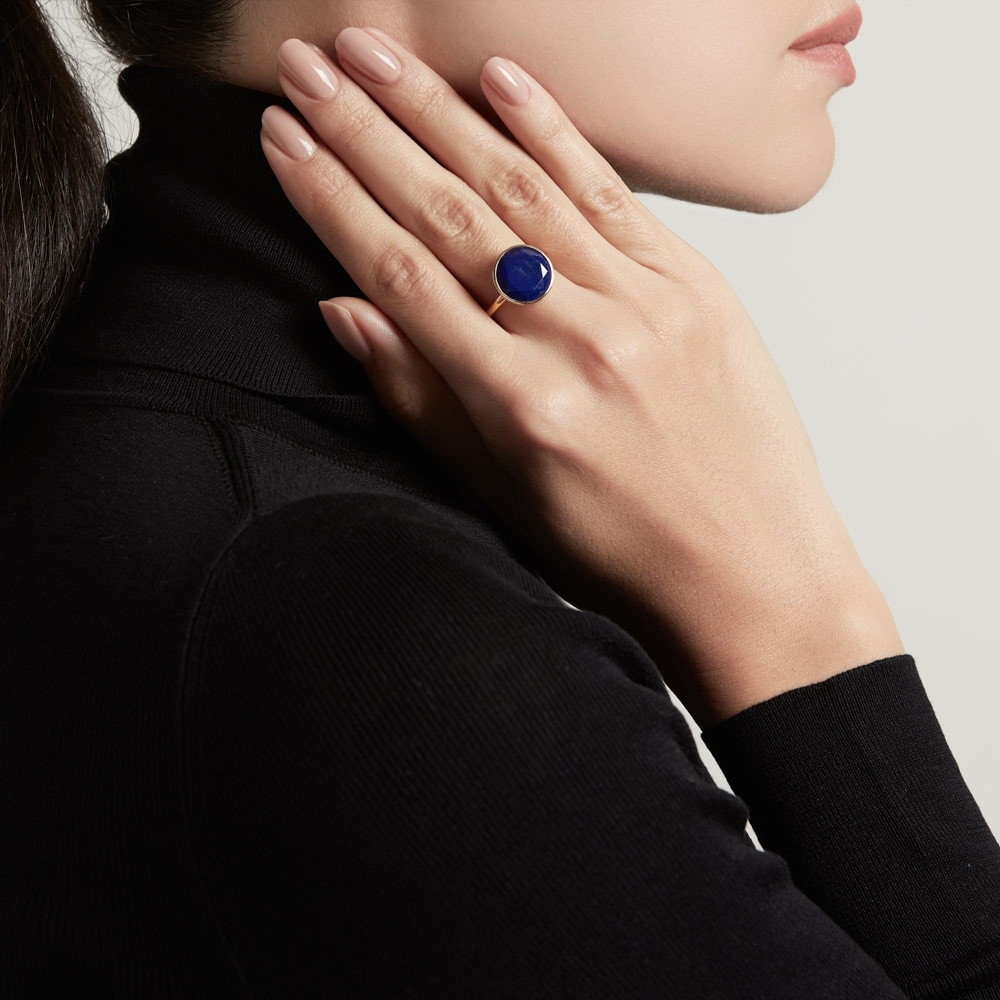 Large Lapis Round Stilla Ring
