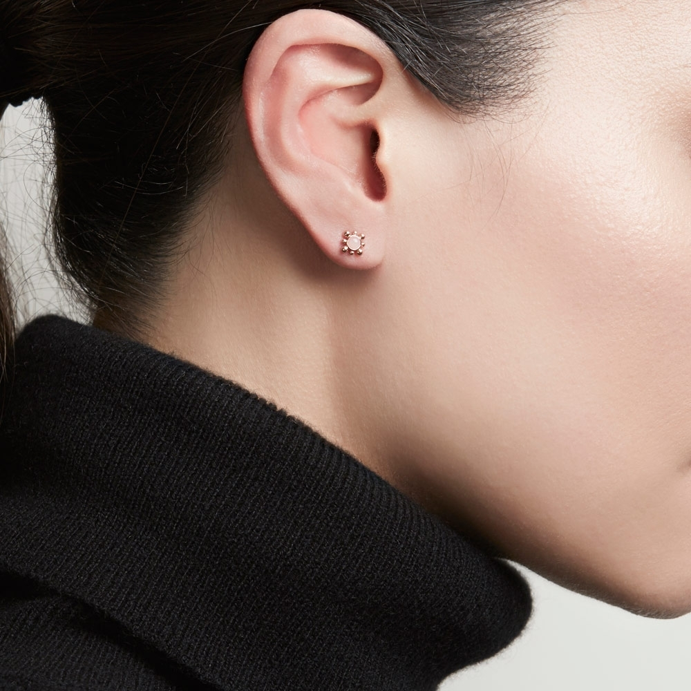 Pink Opal Mini Floris Stud Earrings