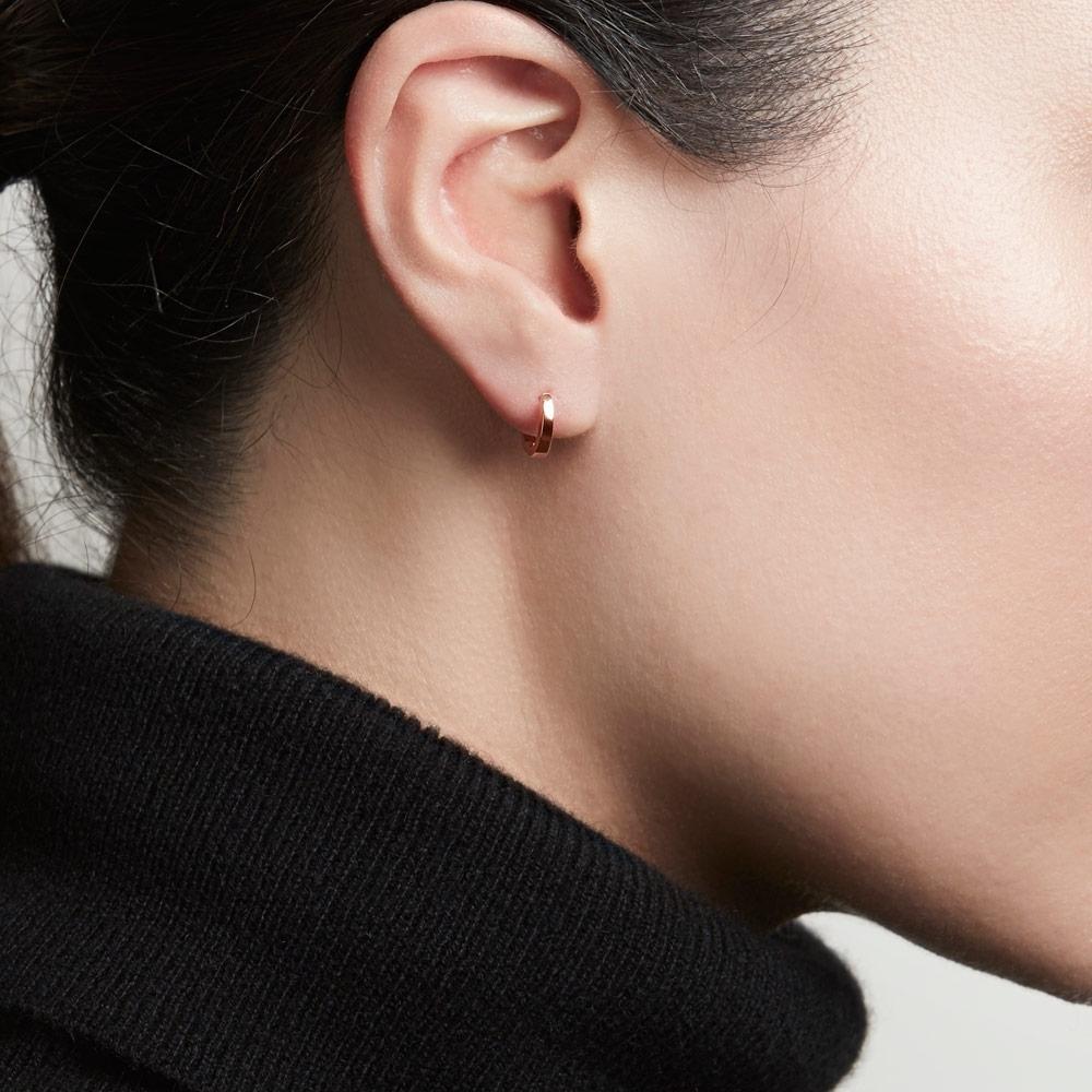 Mini Halo Rose Gold Hoop Earrings