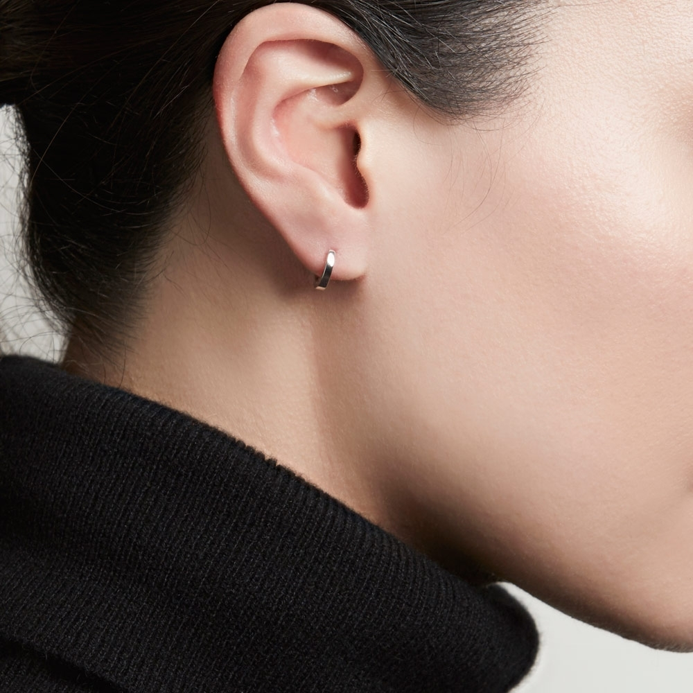 Mini Halo White Gold Hoop Earrings