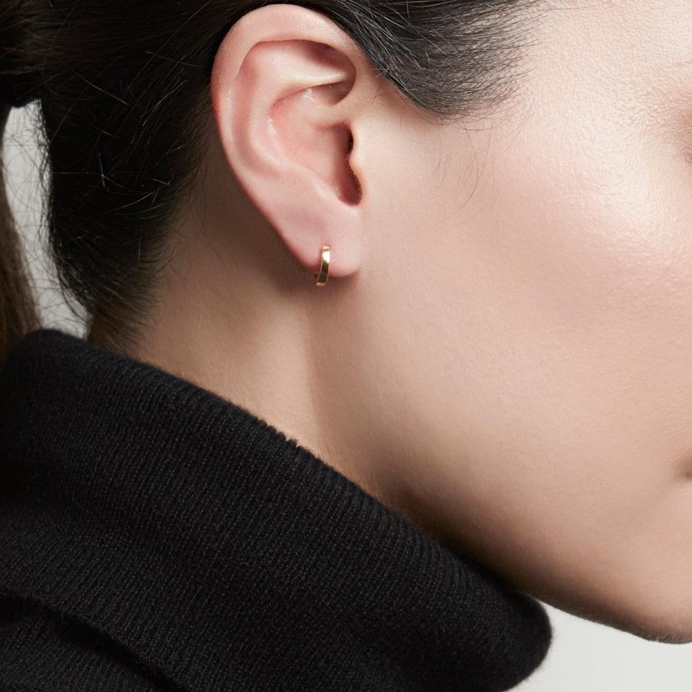 Mini Halo Gold Hoop Earrings
