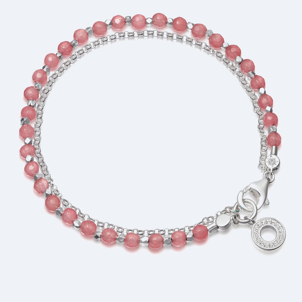 Rose Quartzite Mini Halo Biography Bracelet