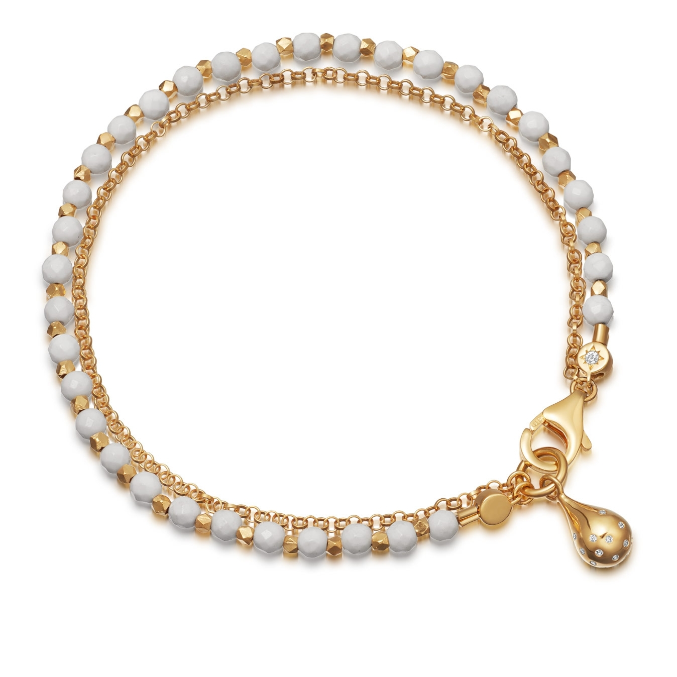 White Agate Dew Drop Biography Bracelet