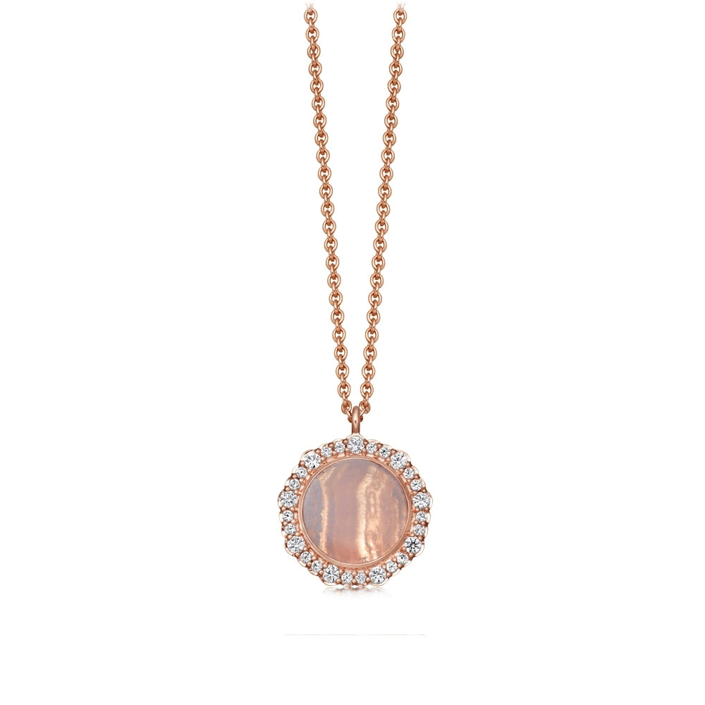 Lace Agate Luna Pendant Necklace