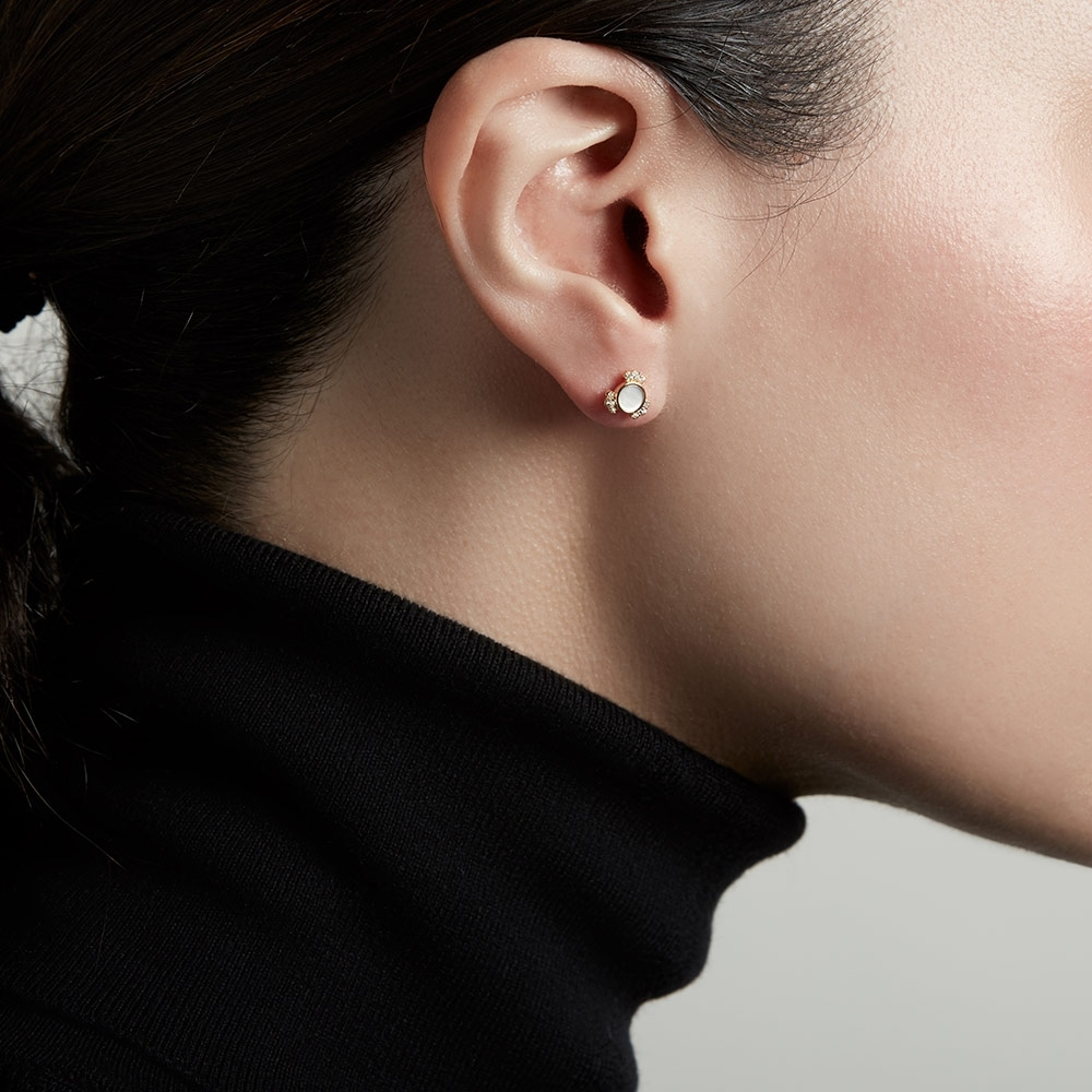 Luna Mini Mother of Pearl Stud Earrings