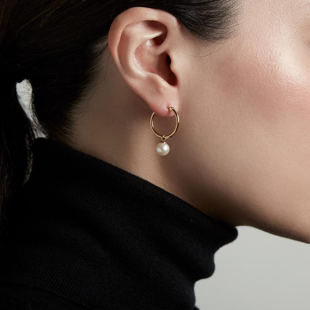 Vera Pearl Drop Hoop Earrings