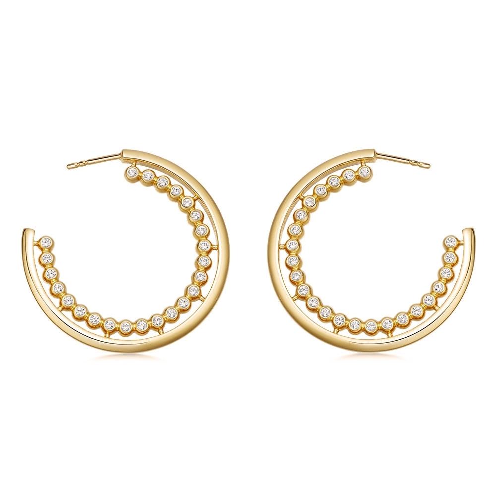 Stilla Arc Sapphire Hoop Earrings