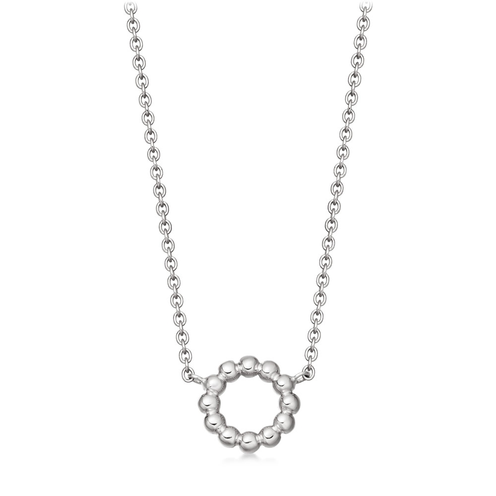 Stilla Arc Silver Beaded Pendant Necklace