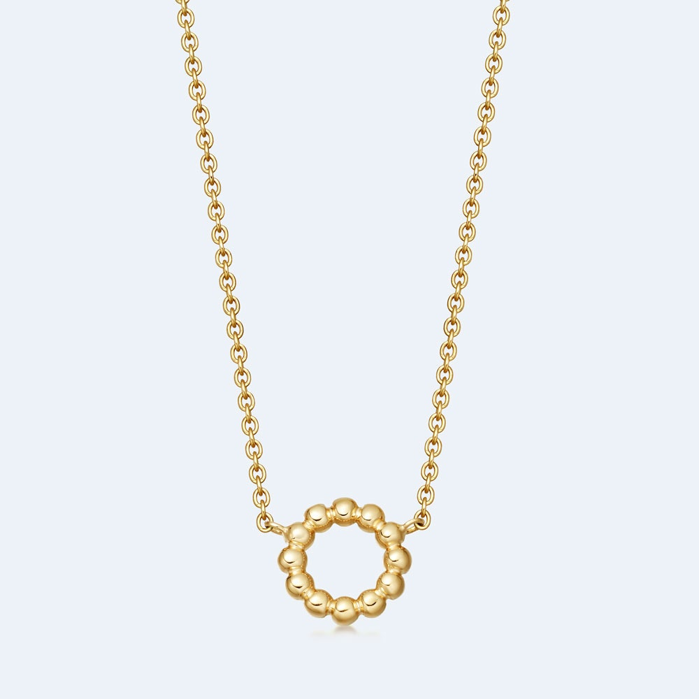 Stilla Arc Gold Beaded Pendant Necklace