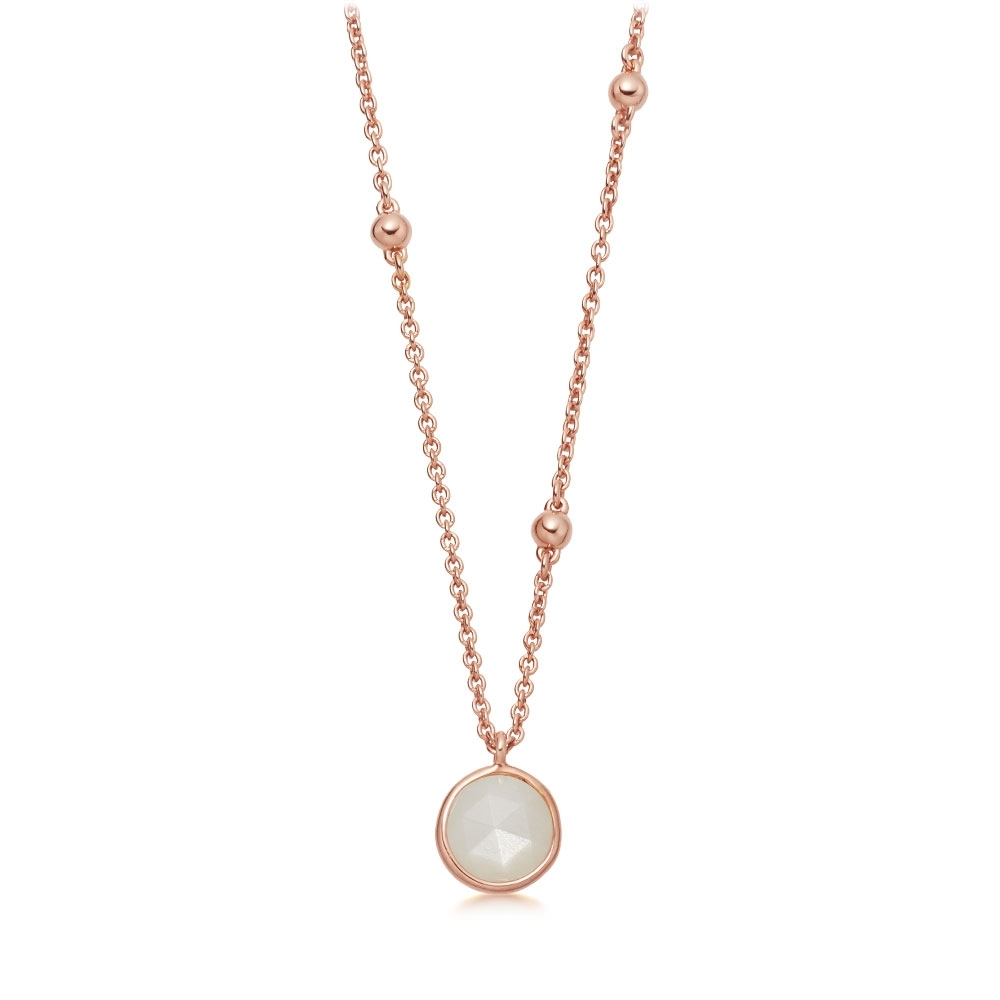 Beaded Moonstone Pendant Necklace