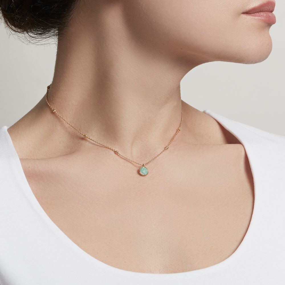 Beaded Amazonite Pendant Necklace