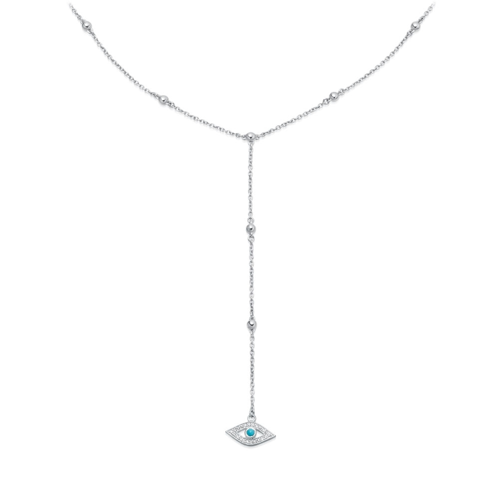 Biography Evil Eye Lariat Necklace