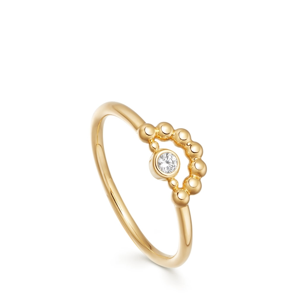 Stilla Arc Gold Mini Beaded Ring