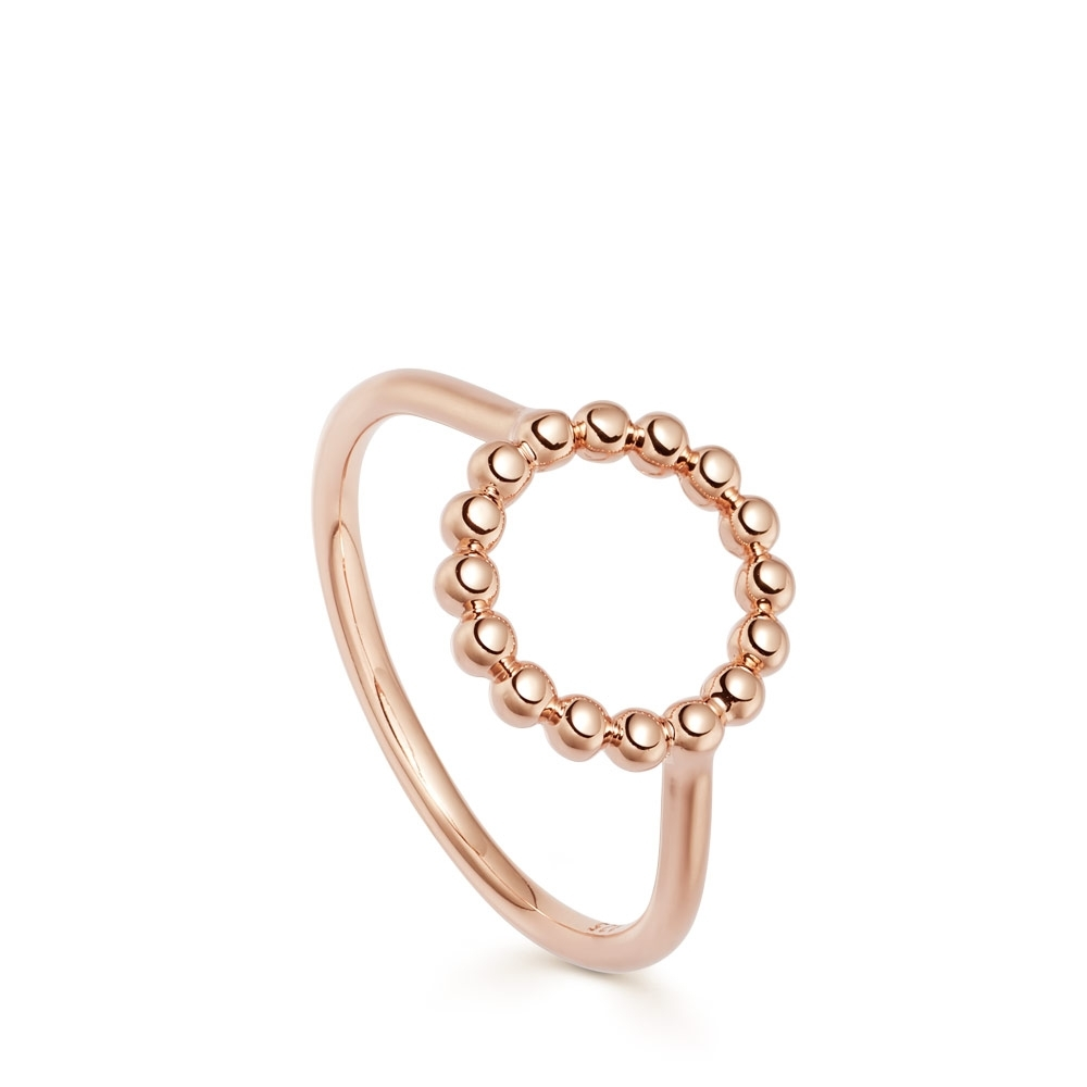 Stilla Arc Rose Gold Beaded Ring