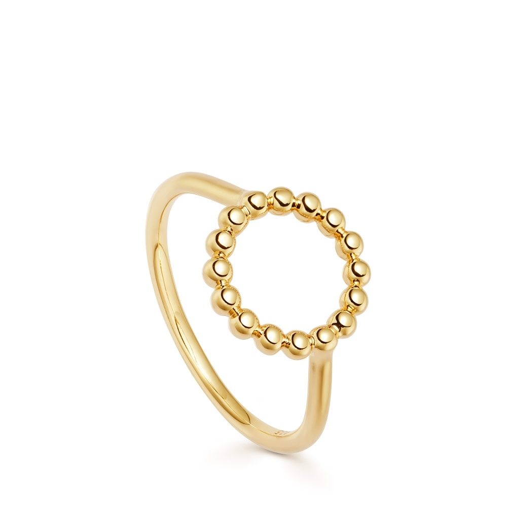 Stilla Arc Gold Beaded Ring