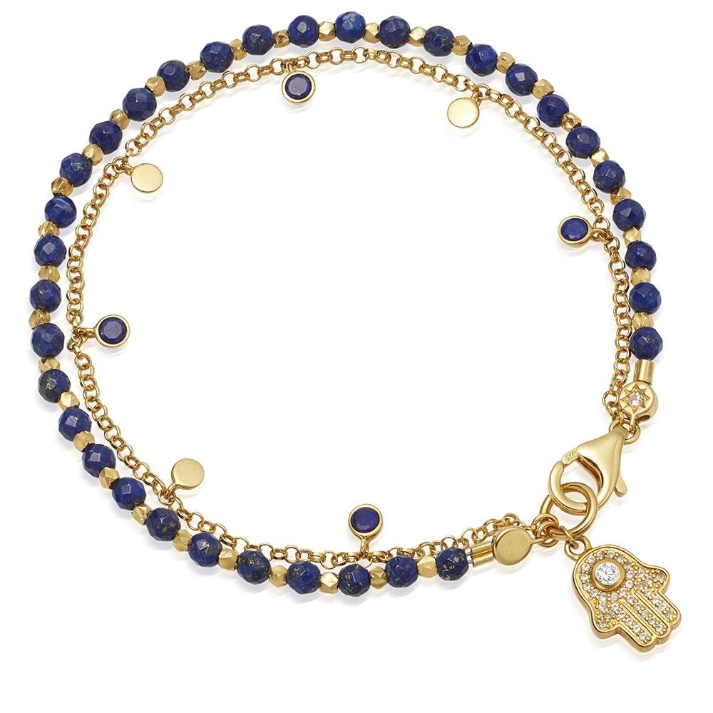 Lapis Hamsa Droplet Bracelet