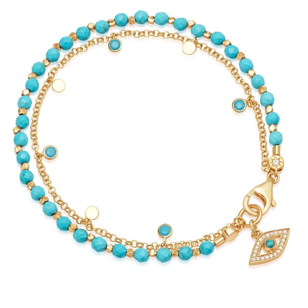 Turquoise Evil Eye Droplet Bracelet