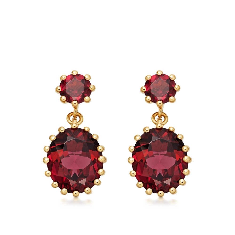 Linia Rhodolite Drop Earrings