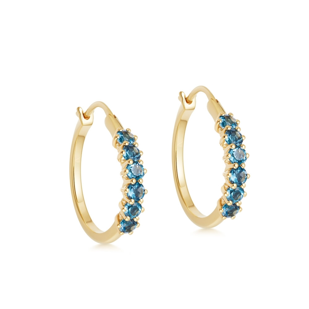 Linia London Blue Topaz Hoop Earrings