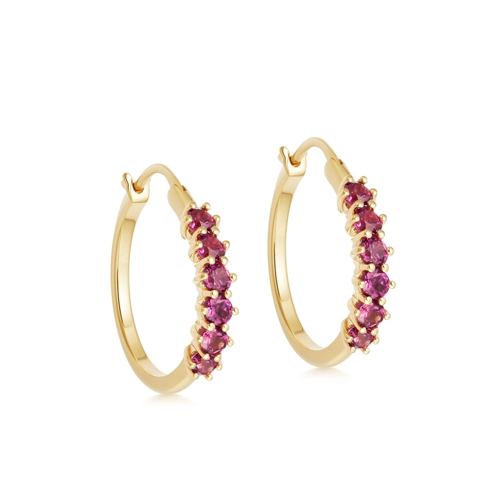 Linia Rhodolite Hoop Earrings