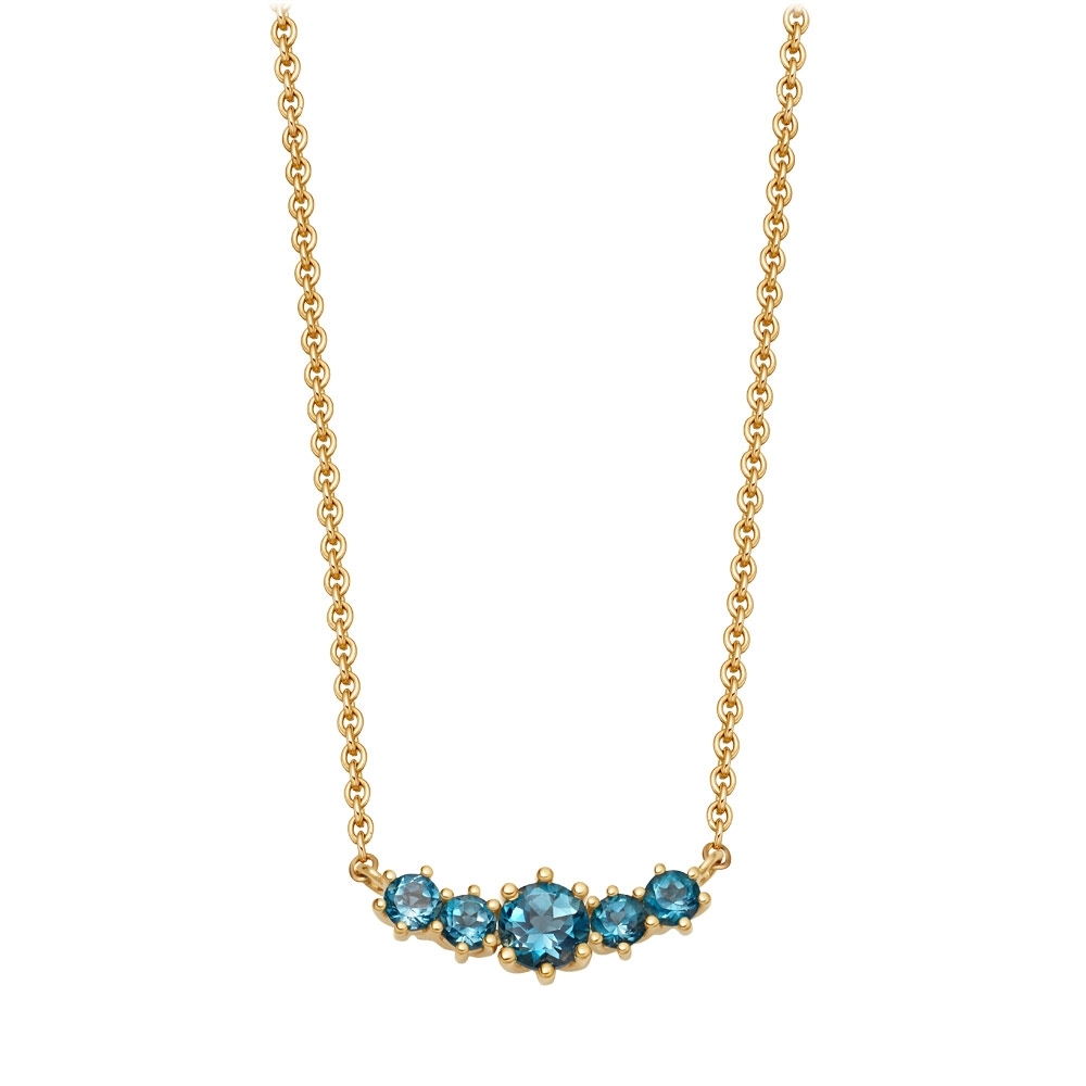 Mini Linia London Blue Topaz Pendant Necklace