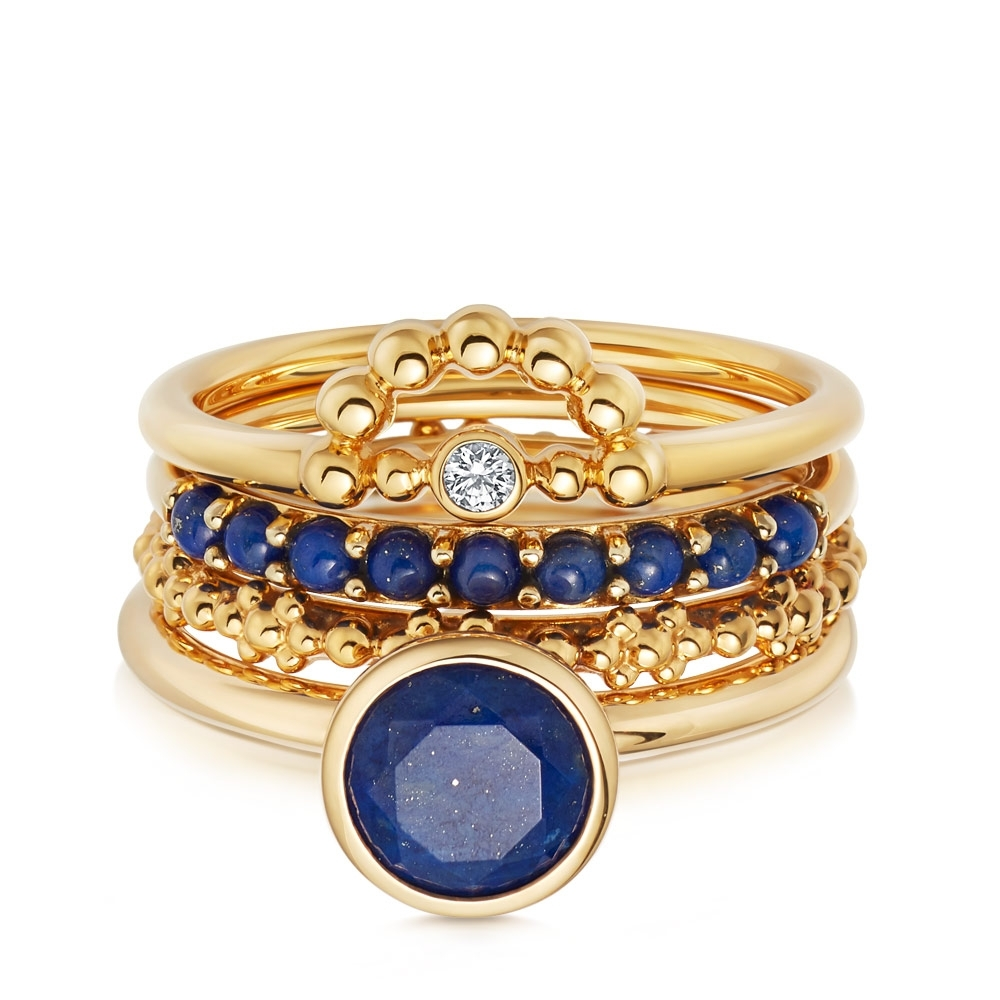 Lustrous Lapis Ring Stack