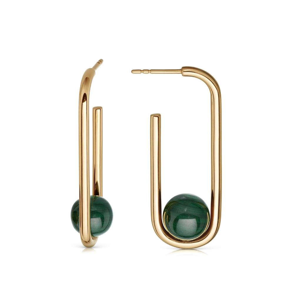 Marcel Malachite Hoop Earrings