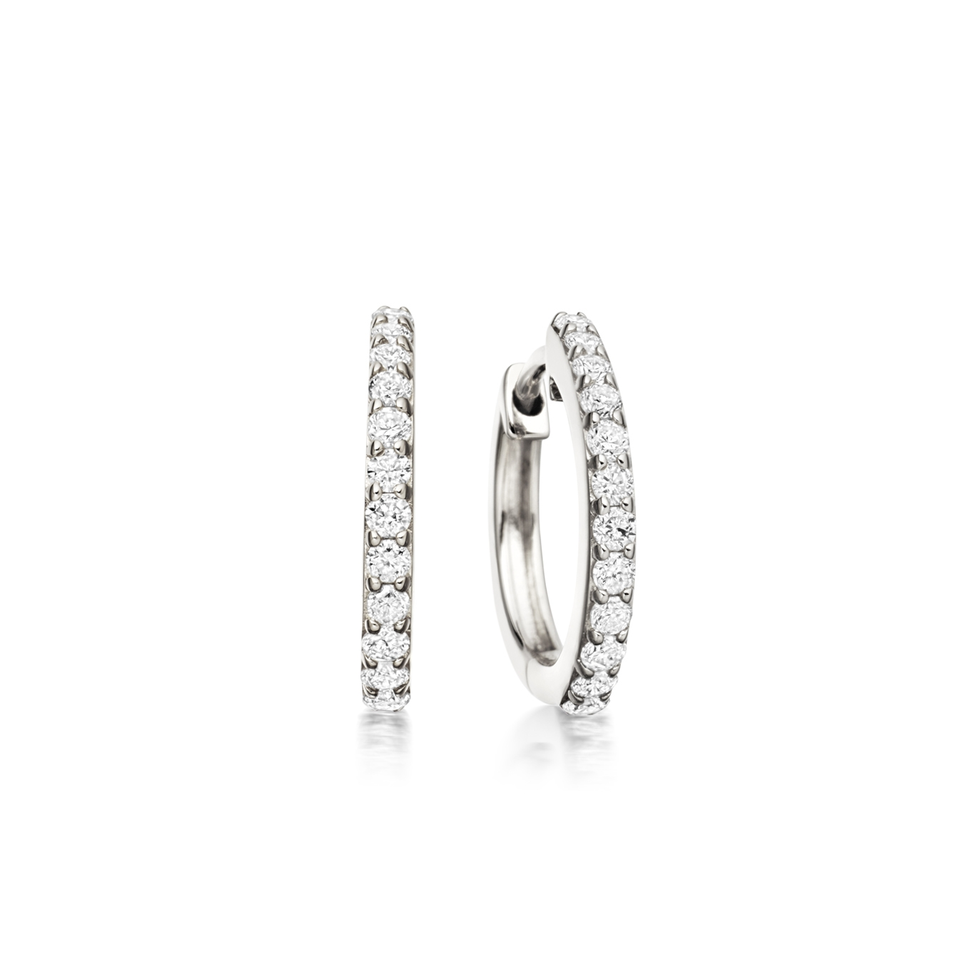 Medium Halo Diamond Hoop Earrings