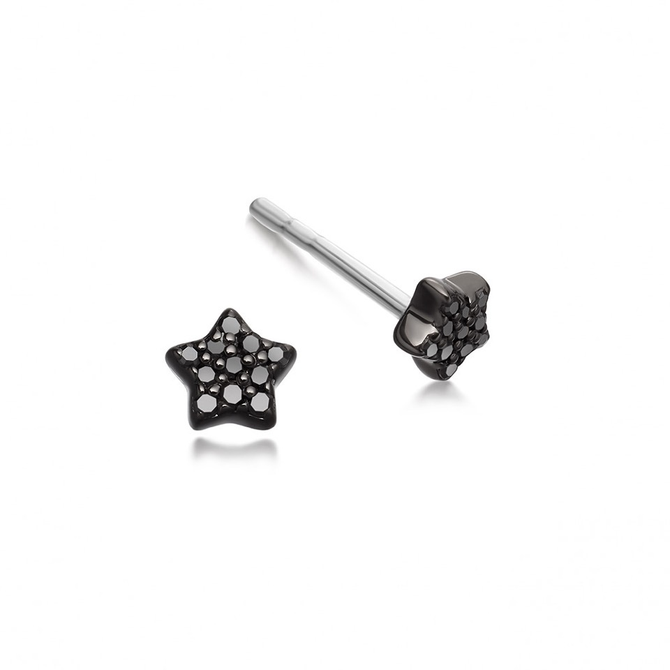 Tiny Star Black Diamond Stud Earrings